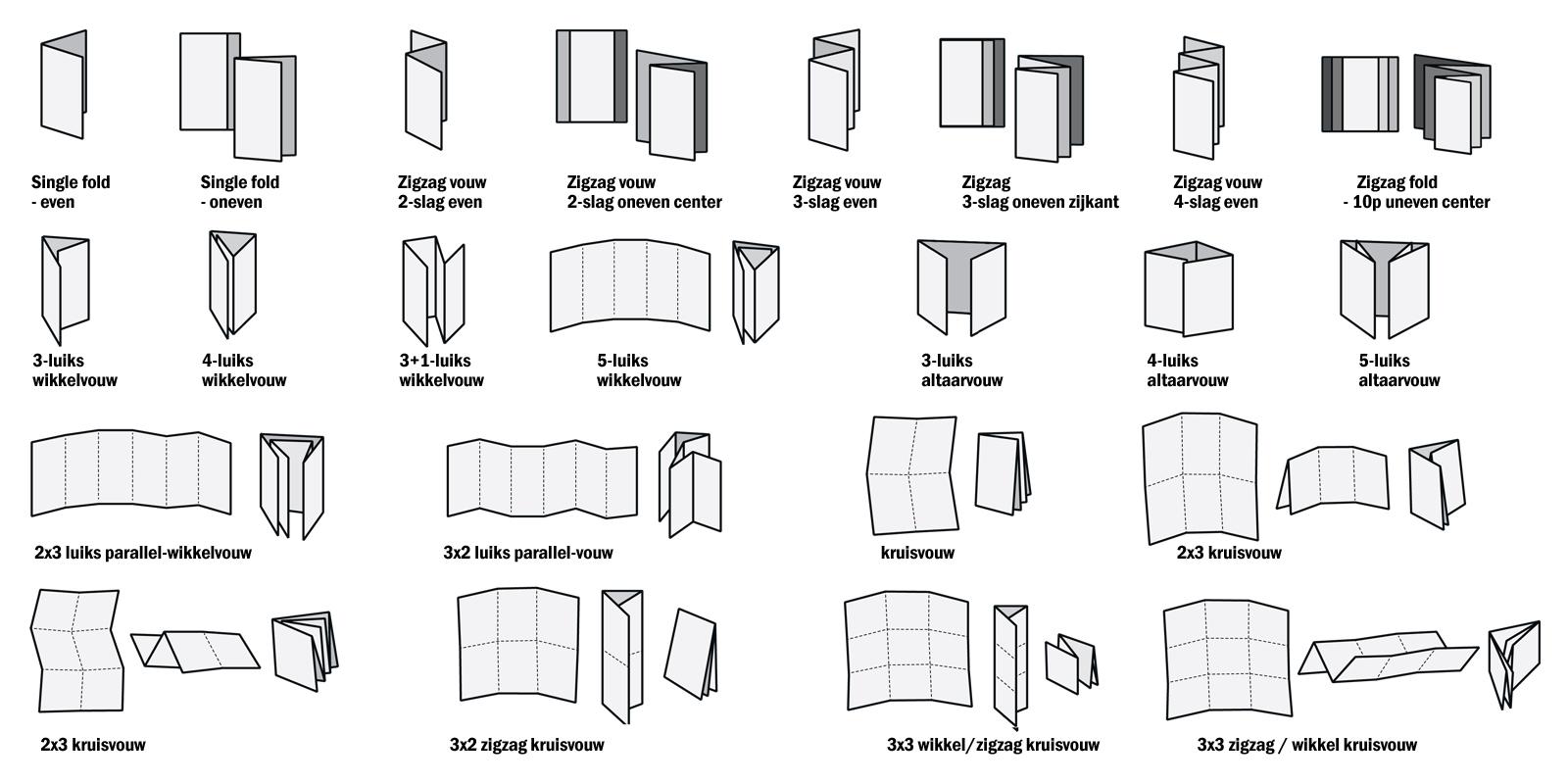 vouwwijzen folders brochures